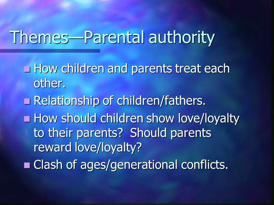 Themes—Parental authority How children and parents treat each other. How children and parents treat each other. Relationship of children/fathers. Rela