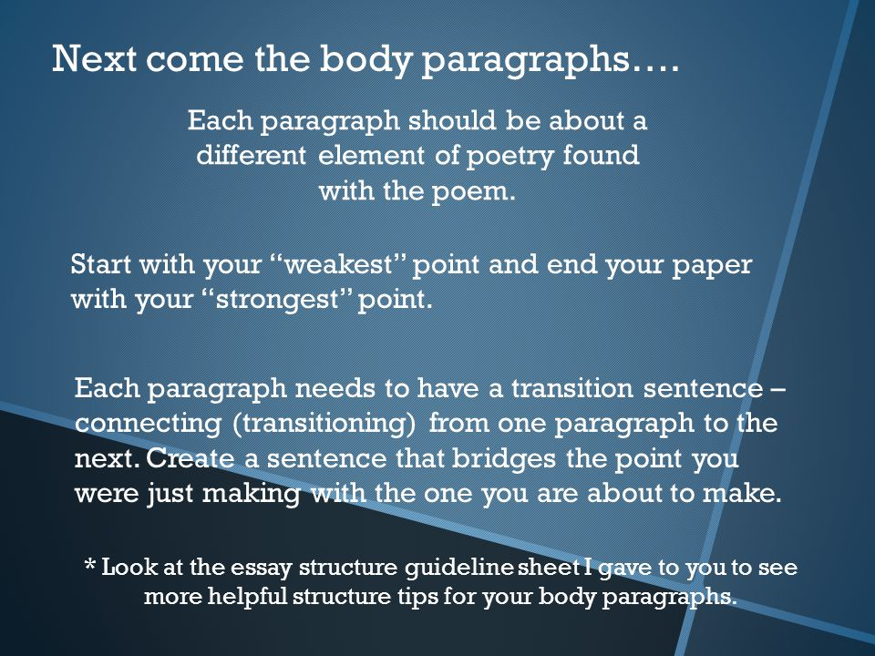 Next come the body paragraphs….