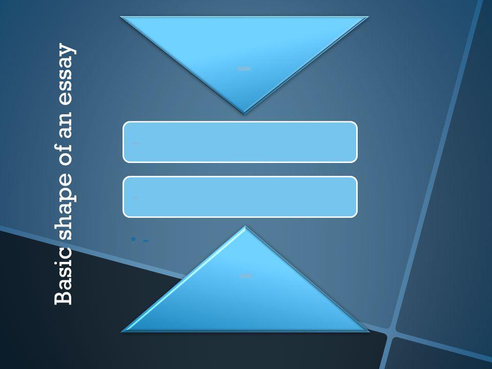 - Basic shape of an essay