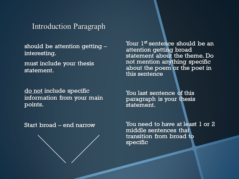 Introduction Paragraph should be attention getting – interesting.
