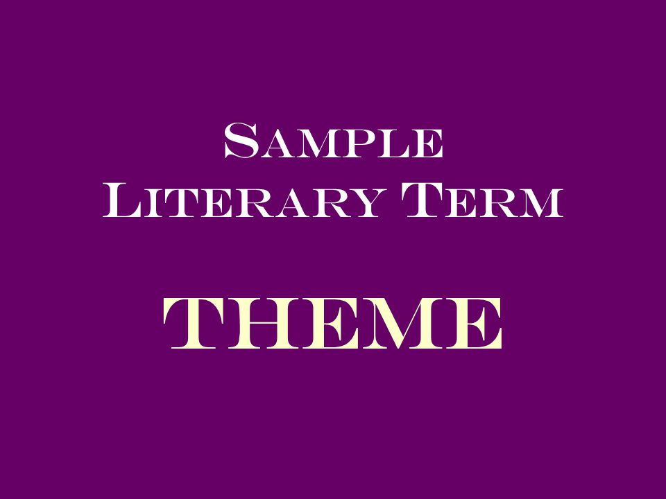S ample L iterary T erm Theme