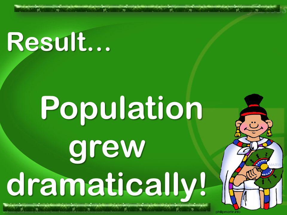 Result… Population grew dramatically!