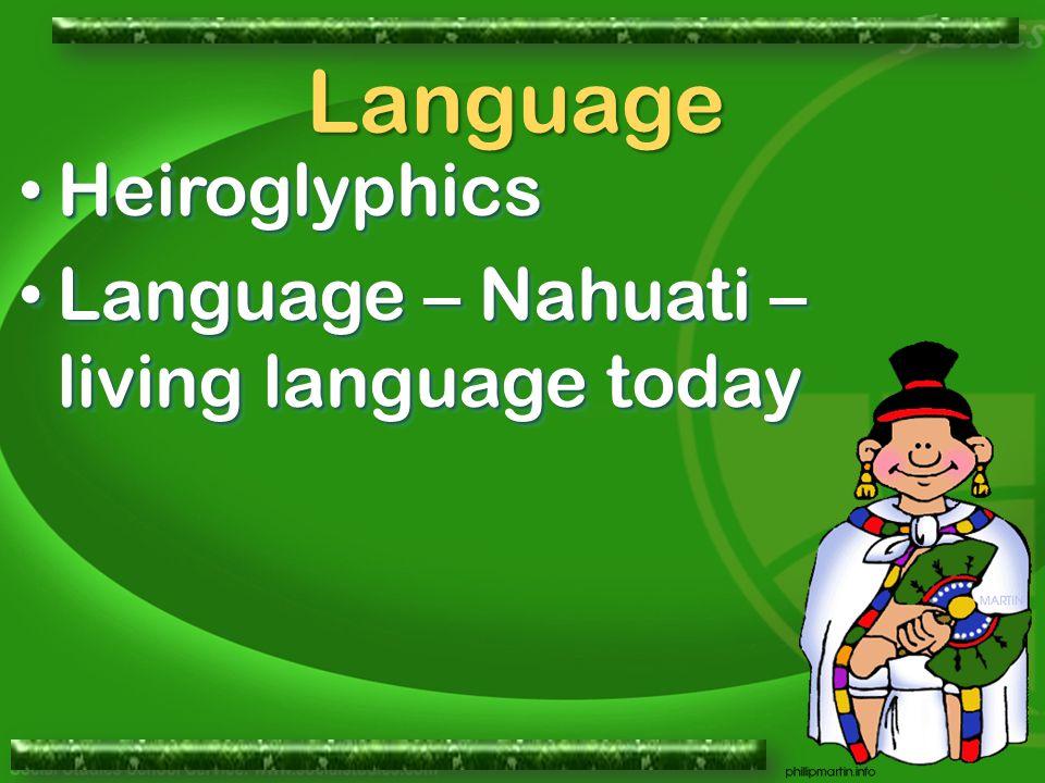 Heiroglyphics Heiroglyphics Language – Nahuati – living language today Language – Nahuati – living language today Heiroglyphics Heiroglyphics Language