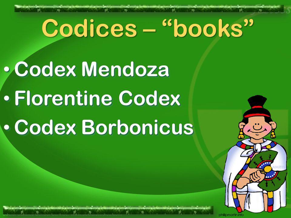 Codex Mendoza Codex Mendoza Florentine Codex Florentine Codex Codex Borbonicus Codex Borbonicus Codex Mendoza Codex Mendoza Florentine Codex Florentine Codex Codex Borbonicus Codex Borbonicus Codices – books