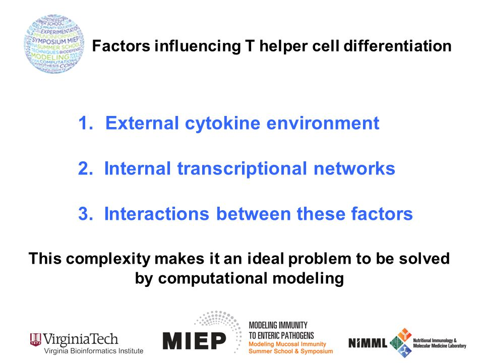1.External cytokine environment 2.Internal transcriptional networks 3.