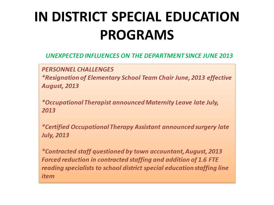 IN DISTRICT SPECIAL EDUCATION PROGRAMS UNEXPECTED INFLUENCES ON THE DEPARTMENT SINCE JUNE 2013 PERSONNEL CHALLENGES *Resignation of Elementary School Team Chair June, 2013 effective August, 2013 *Occupational Therapist announced Maternity Leave late July, 2013 *Certified Occupational Therapy Assistant announced surgery late July, 2013 *Contracted staff questioned by town accountant, August, 2013 Forced reduction in contracted staffing and addition of 1.6 FTE reading specialists to school district special education staffing line item PERSONNEL CHALLENGES *Resignation of Elementary School Team Chair June, 2013 effective August, 2013 *Occupational Therapist announced Maternity Leave late July, 2013 *Certified Occupational Therapy Assistant announced surgery late July, 2013 *Contracted staff questioned by town accountant, August, 2013 Forced reduction in contracted staffing and addition of 1.6 FTE reading specialists to school district special education staffing line item