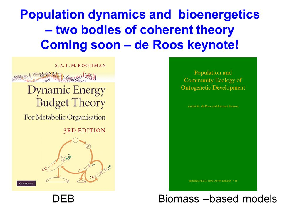 Population dynamics and bioenergetics – two bodies of coherent theory Coming soon – de Roos keynote! DEBBiomass –based models