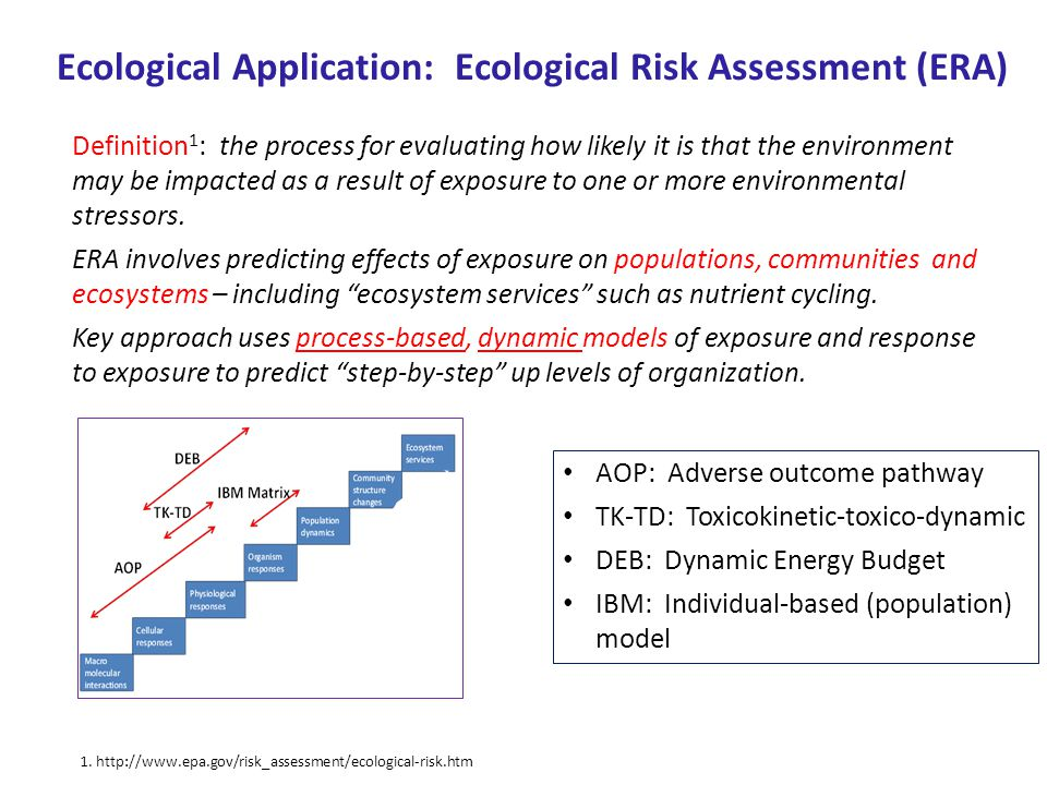 Ecological Application: Ecological Risk Assessment (ERA) Definition 1 : the process for evaluating how likely it is that the environment may be impact