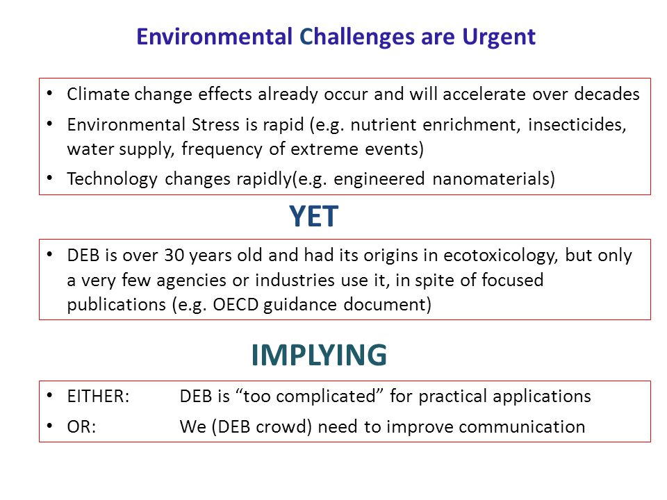 Environmental Challenges are Urgent Climate change effects already occur and will accelerate over decades Environmental Stress is rapid (e.g. nutrient
