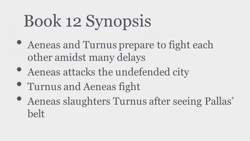 Book 12 Synopsis Aeneas and Turnus prepare to fight each other amidst many delays Aeneas attacks the undefended city Turnus and Aeneas fight Aeneas sl