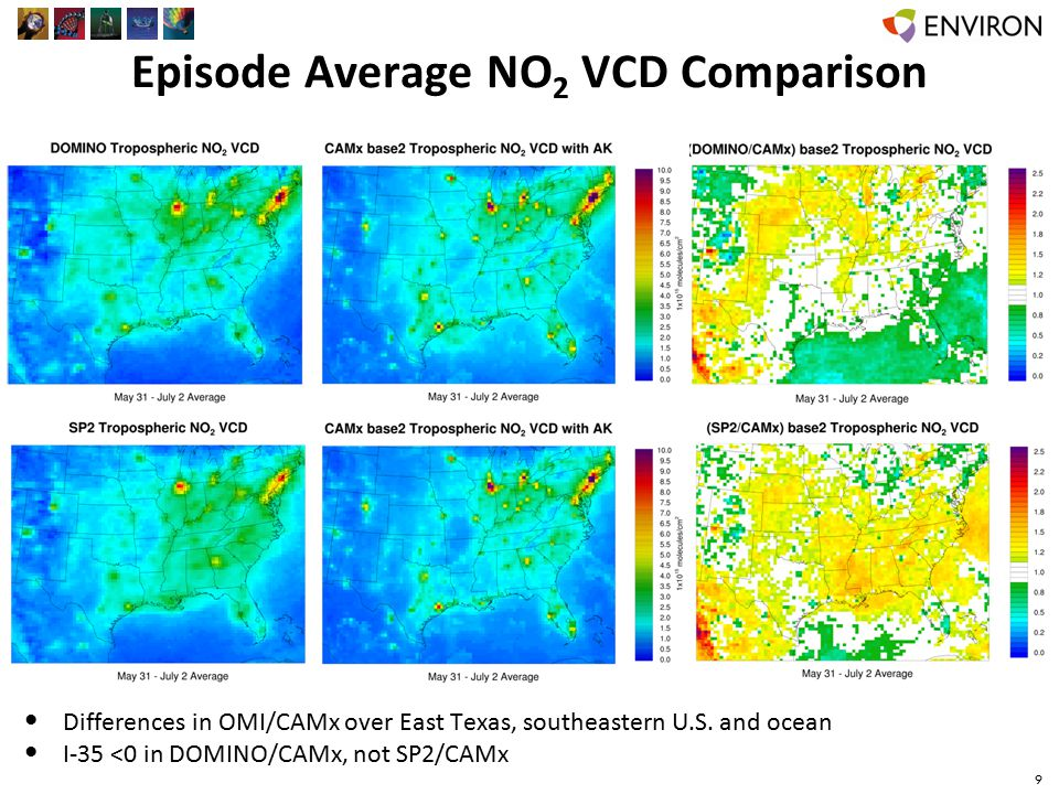 Episode Average NO 2 VCD Comparison 9 Differences in OMI/CAMx over East Texas, southeastern U.S.