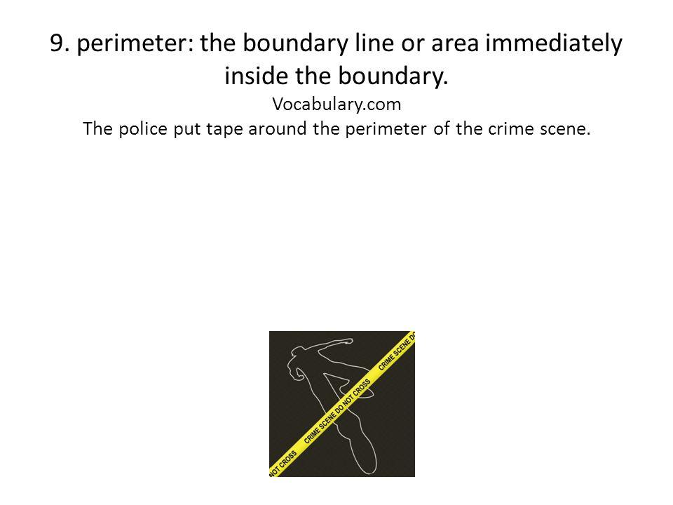 9.perimeter: the boundary line or area immediately inside the boundary.