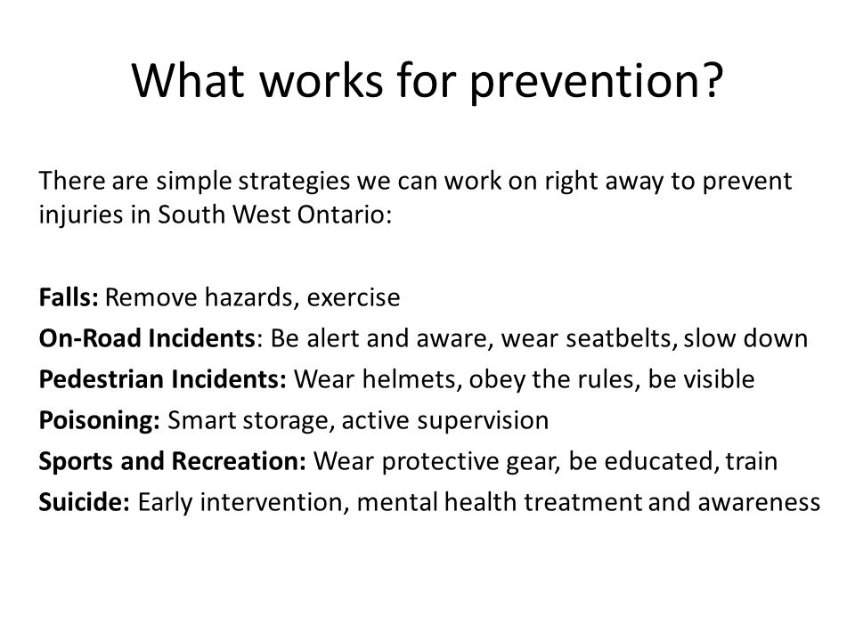 What works for prevention.