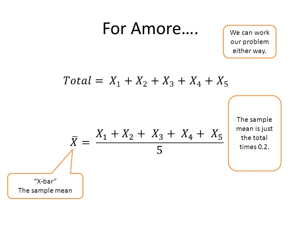 """For Amore…. """"X-bar"""" The sample mean We can work our problem either way. The sample mean is just the total times 0.2."""