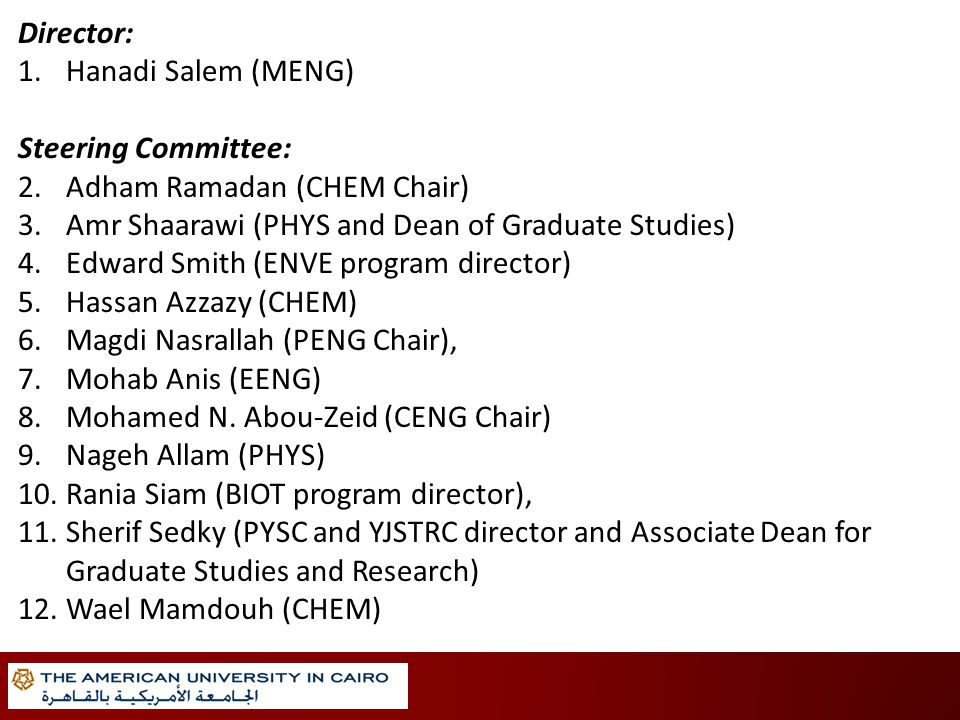 Director: 1.Hanadi Salem (MENG) Steering Committee: 2.Adham Ramadan (CHEM Chair) 3.Amr Shaarawi (PHYS and Dean of Graduate Studies) 4.Edward Smith (ENVE program director) 5.Hassan Azzazy (CHEM) 6.Magdi Nasrallah (PENG Chair), 7.Mohab Anis (EENG) 8.Mohamed N.