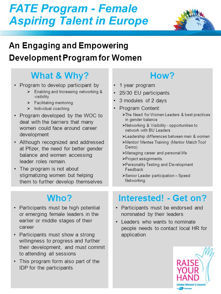 FATE Program - Female Aspiring Talent in Europe An Engaging and Empowering Development Program for Women What & Why.