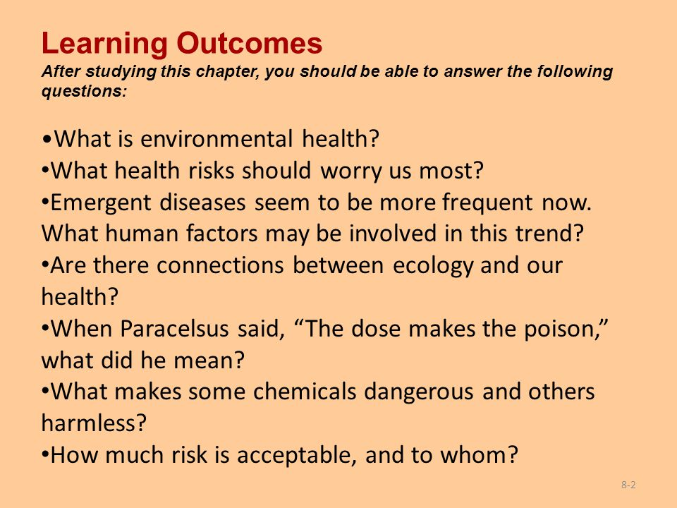 Learning Outcomes After studying this chapter, you should be able to answer the following questions: What is environmental health? What health risks s