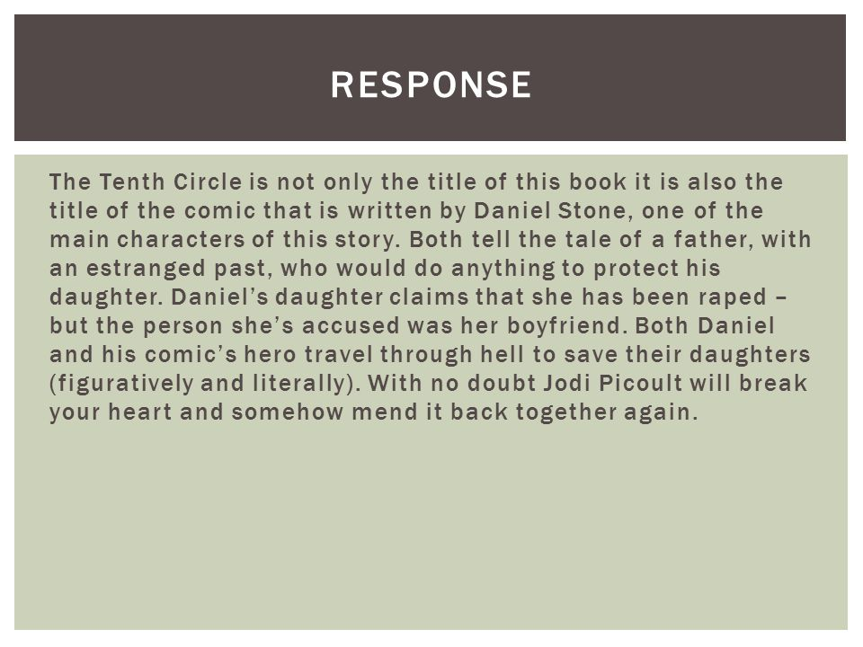 The Tenth Circle is not only the title of this book it is also the title of the comic that is written by Daniel Stone, one of the main characters of this story.