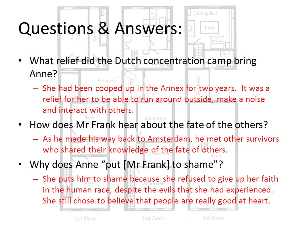 Questions & Answers: What relief did the Dutch concentration camp bring Anne.