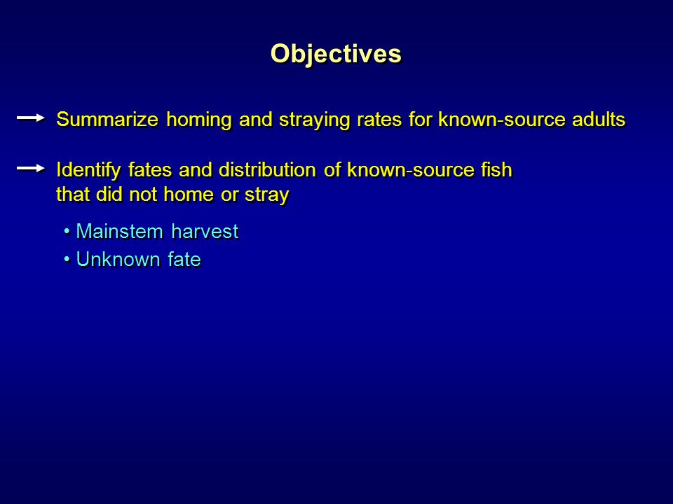 Objectives Summarize homing and straying rates for known-source adults Identify fates and distribution of known-source fish that did not home or stray Identify fates and distribution of known-source fish that did not home or stray Mainstem harvest Unknown fate