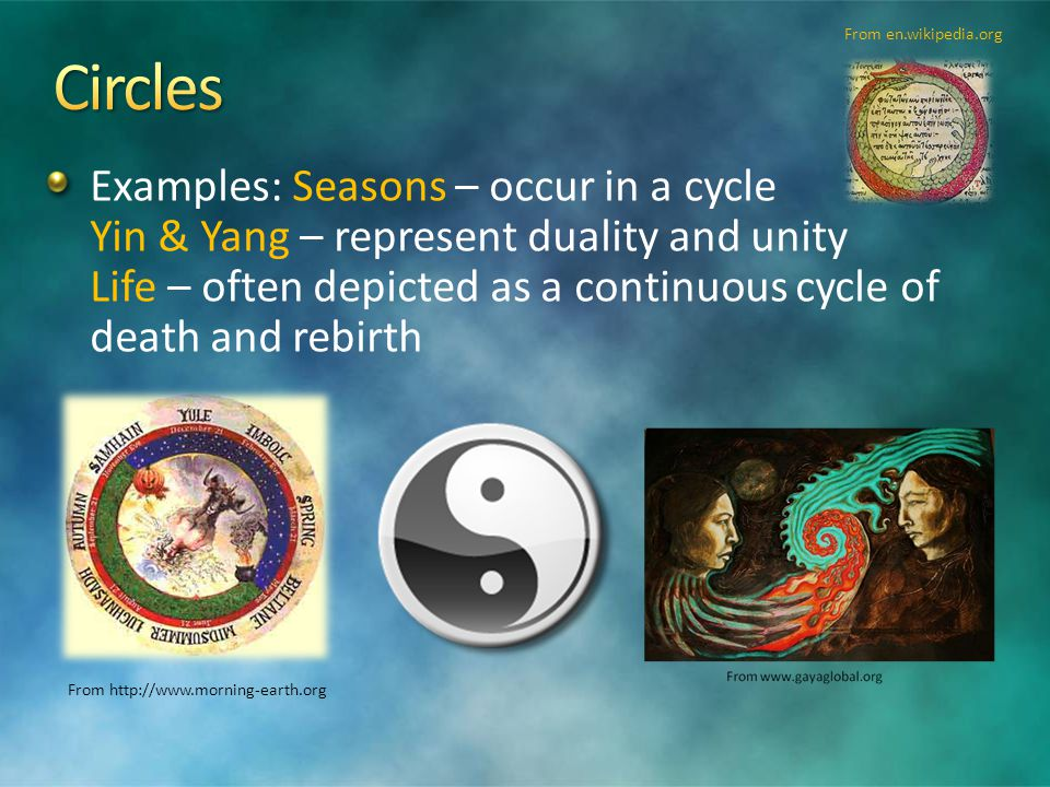 Examples: Seasons – occur in a cycle Yin & Yang – represent duality and unity Life – often depicted as a continuous cycle of death and rebirth From http://www.morning-earth.org From en.wikipedia.org
