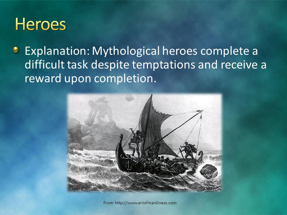 Explanation: Mythological heroes complete a difficult task despite temptations and receive a reward upon completion.