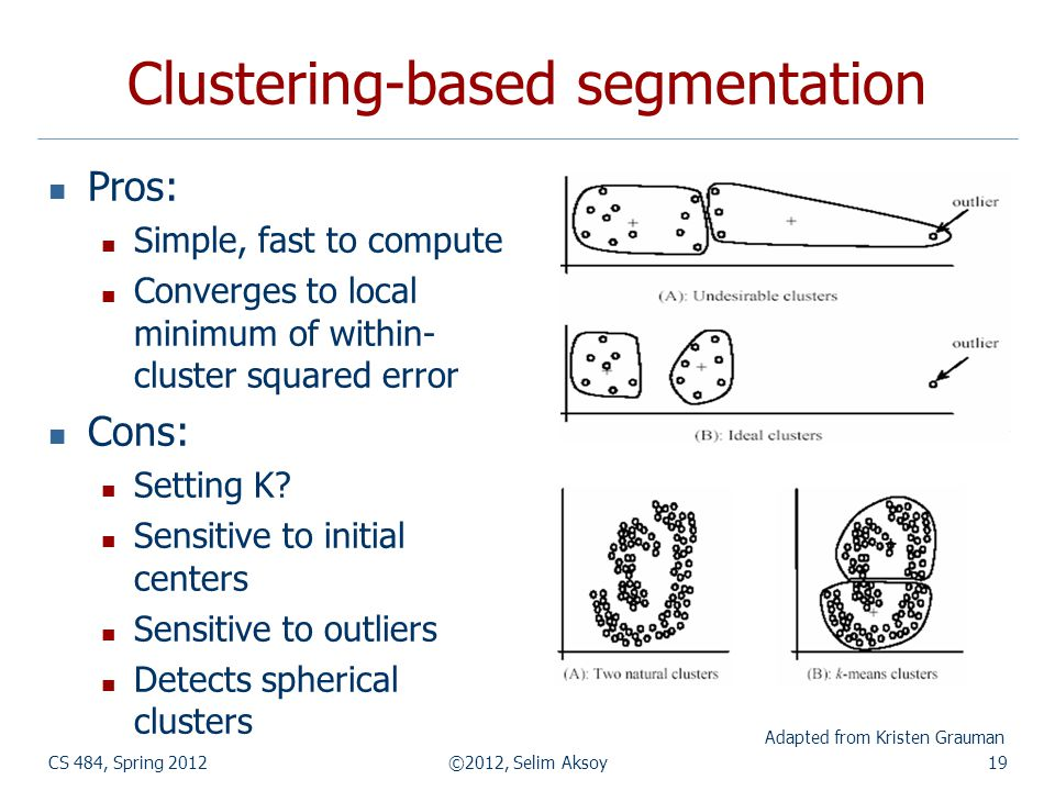 Clustering-based segmentation Pros: Simple, fast to compute Converges to local minimum of within- cluster squared error Cons: Setting K? Sensitive to