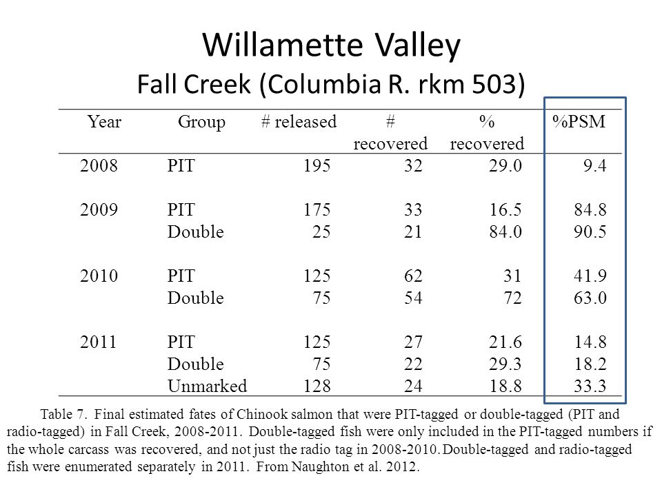 Columbia River tag effects Mainstem unaccounted for losses ~ 12% ~ upper limit -unreported harvest -death (including tag effects) -tag failure / loss -does not account for delayed effects in tribs (Keefer et al.