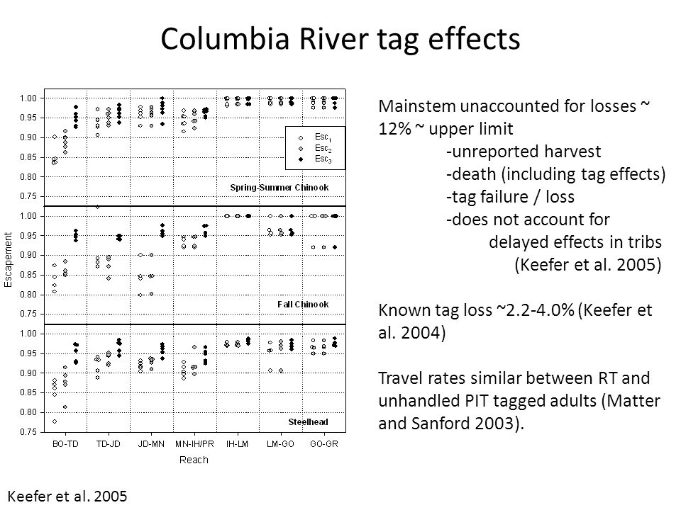 Radio Telemetry Summary Medium to large spatial scales Tracking individuals through acoustically noisy environments (e.g., spillways, fishways) Single receiver gates External antenna Tag life ~ battery size ~ tag size ~ tag effect Spatial resolution to ~ 10 m Tag effects important in some systems, particularly when tagging late in migration