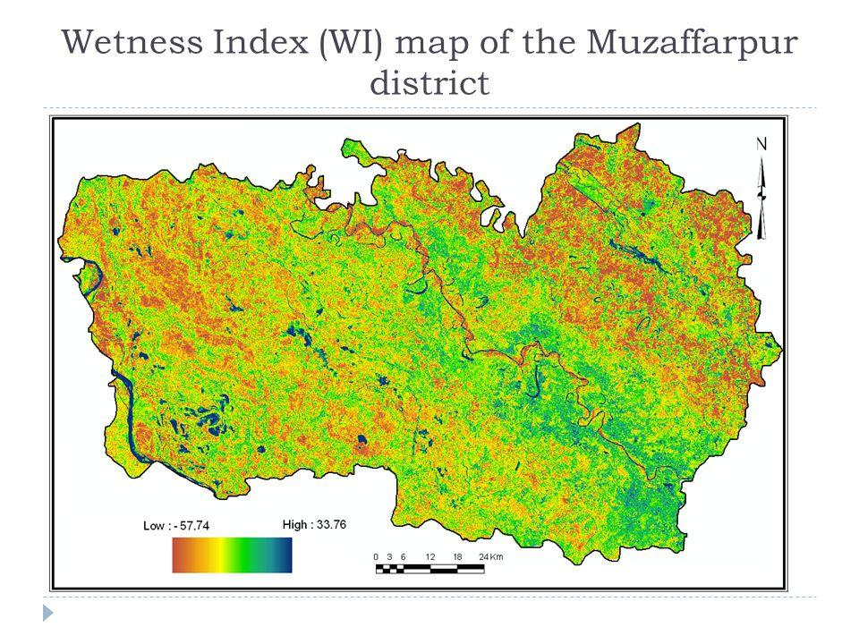 Wetness Index (WI) map of the Muzaffarpur district