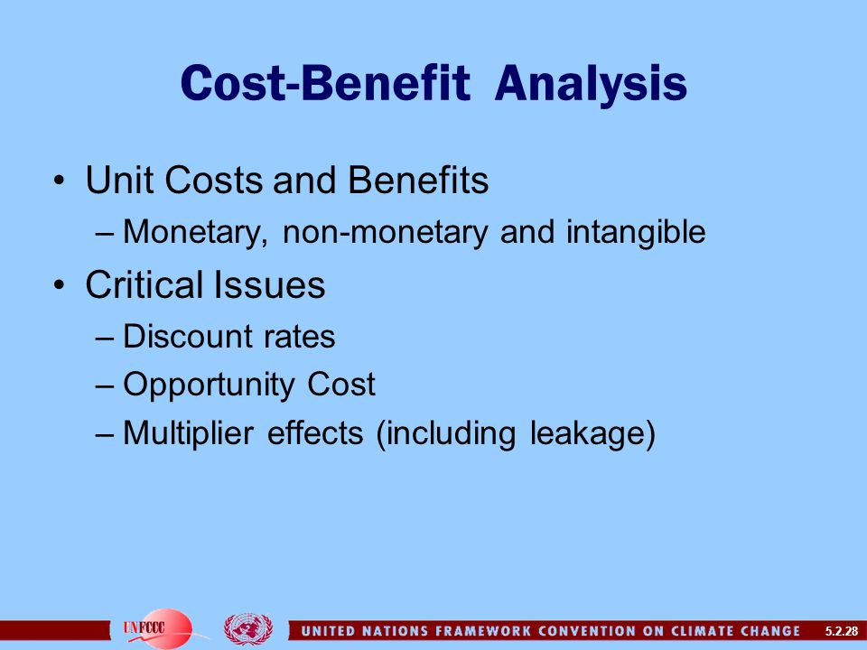 5.2.28 Cost-Benefit Analysis Unit Costs and Benefits –Monetary, non-monetary and intangible Critical Issues –Discount rates –Opportunity Cost –Multiplier effects (including leakage)