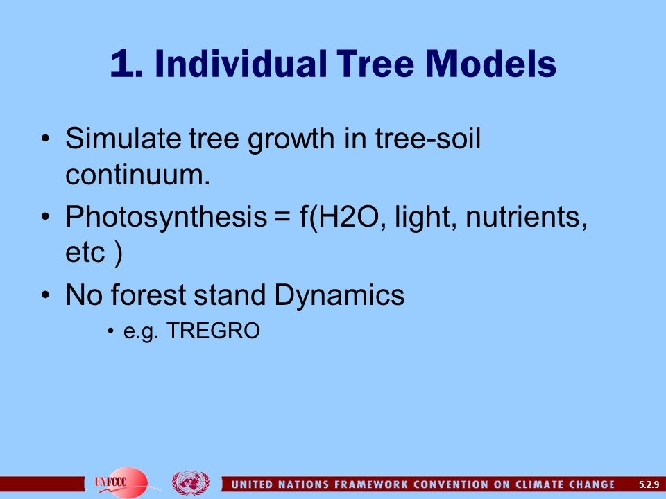 5.2.9 1. Individual Tree Models Simulate tree growth in tree-soil continuum.