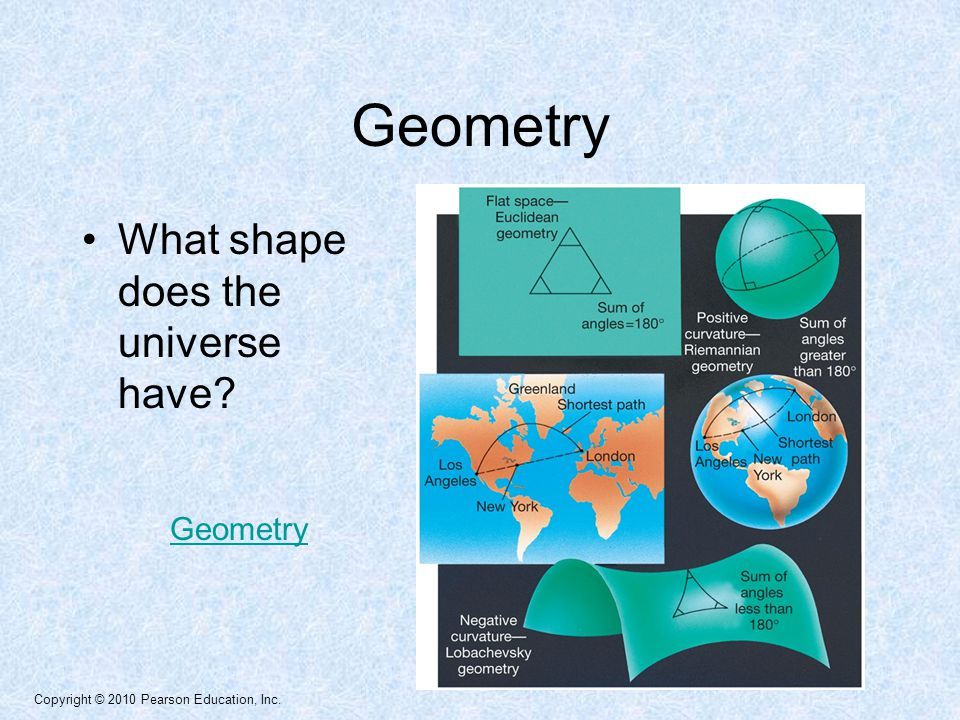 Copyright © 2010 Pearson Education, Inc. Geometry What shape does the universe have Geometry