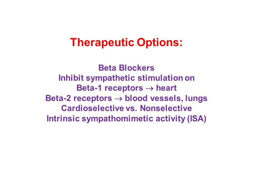 Therapeutic Options: Beta Blockers Inhibit sympathetic stimulation on Beta-1 receptors  heart Beta-2 receptors  blood vessels, lungs Cardioselective vs.