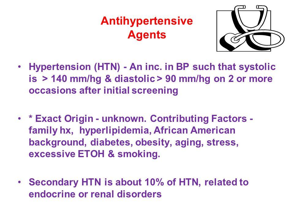 Antihypertensive Agents Hypertension (HTN) - An inc.