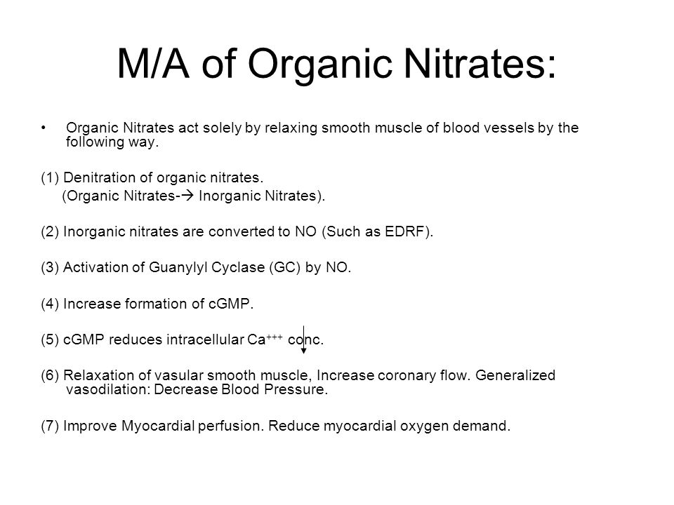 M/A of Organic Nitrates: Organic Nitrates act solely by relaxing smooth muscle of blood vessels by the following way.