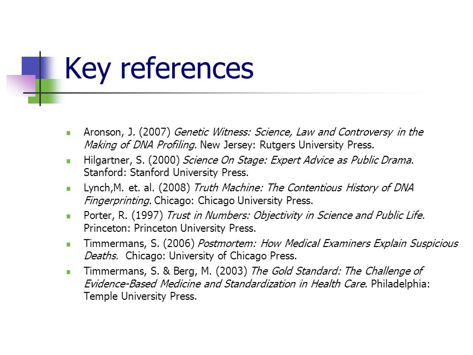 Key references Aronson, J.
