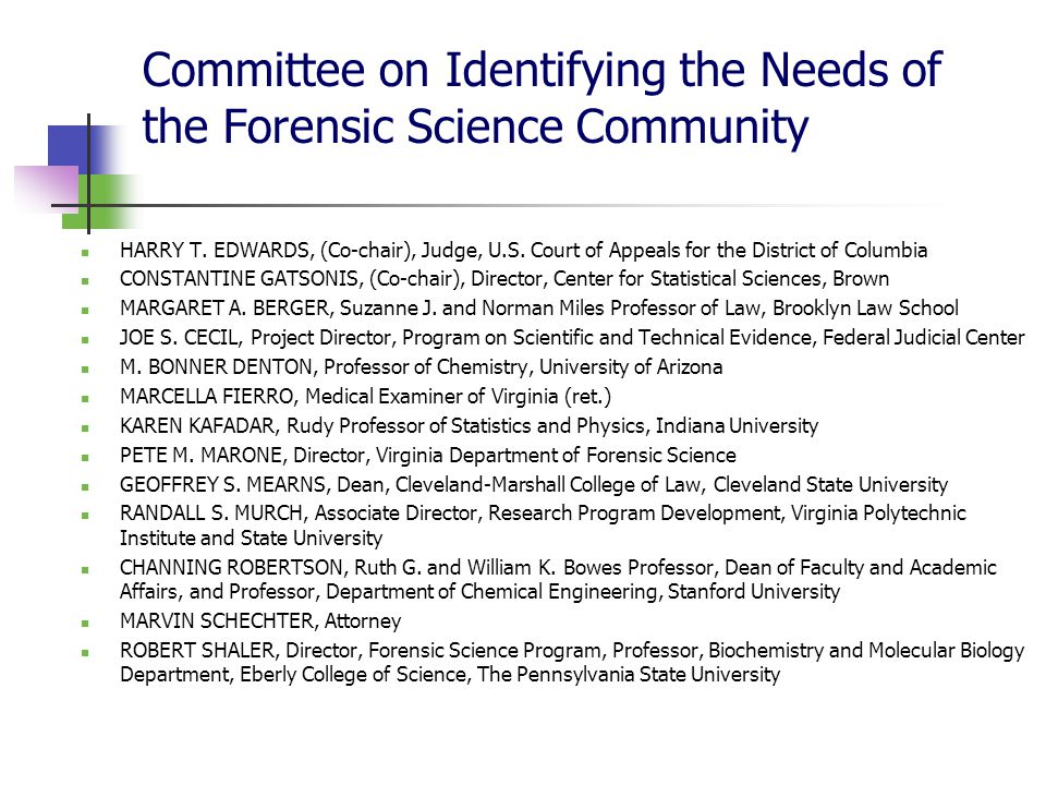 The Cultural Authority of the Report: Expertise & Credibility (Hilgartner) Individuals as representatives of domains of expertise Vouchsafed by associations with outstanding research institutions Multidisciplinarity : comprehensive coverage & broad perspective Uses two dominant registers: An empiricist register – 'allowing evidence to speak for itself' 'The findings of forensic science experts are vulnerable to cognitive and contextual bias.' Expert judgements – interpretative conclusions reached by qualified experts through rational deliberation 'Between meetings, committee members reviewed numerous published materials, studies, and reports related to the forensic science disciplines, engaged in independent research on the subject, and worked on drafts of the final report.' Univocal narrative following extensive deliberation grounded in 'the literature' and 'the evidence' Acknowledgement of non-scientific factors 'It is also recognized that, given the complexity of the issues and the political realities that may pose obstacles to change, some recommendations will have to be implemented creatively and over time in order to be effective.'