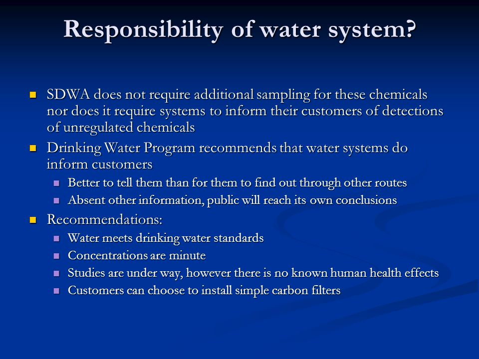 Responsibility of water system.