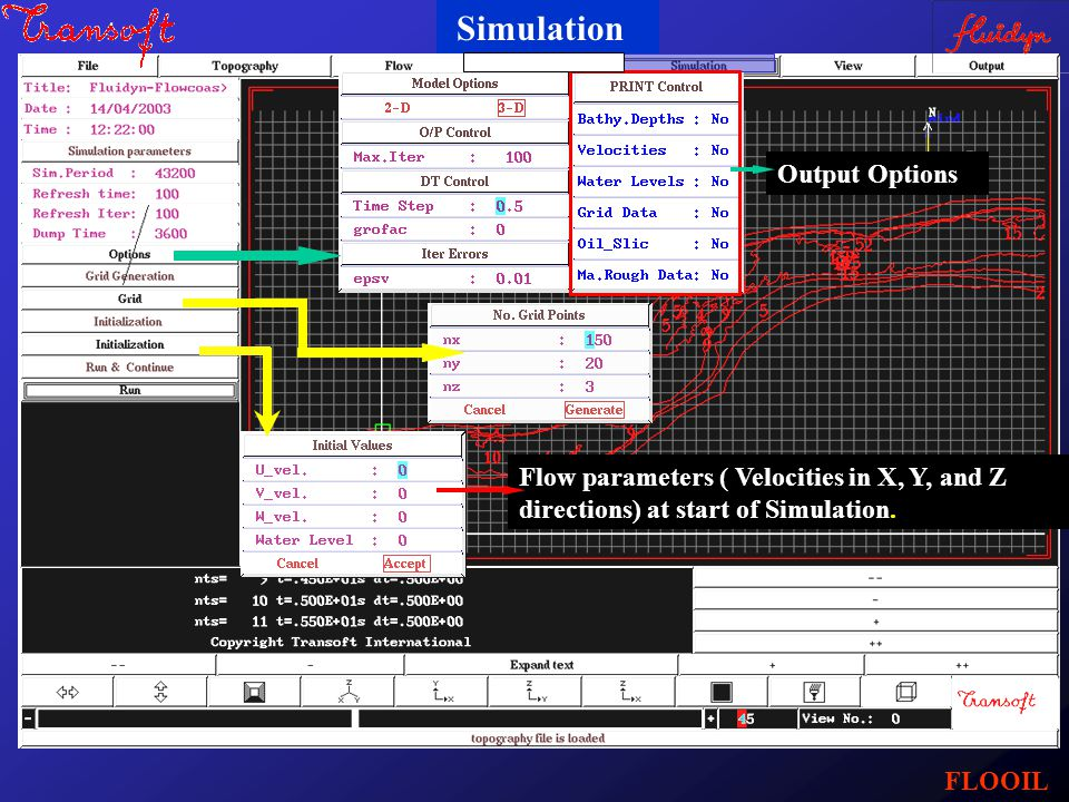 Simulation Output Options Flow parameters ( Velocities in X, Y, and Z directions) at start of Simulation. FLOOIL