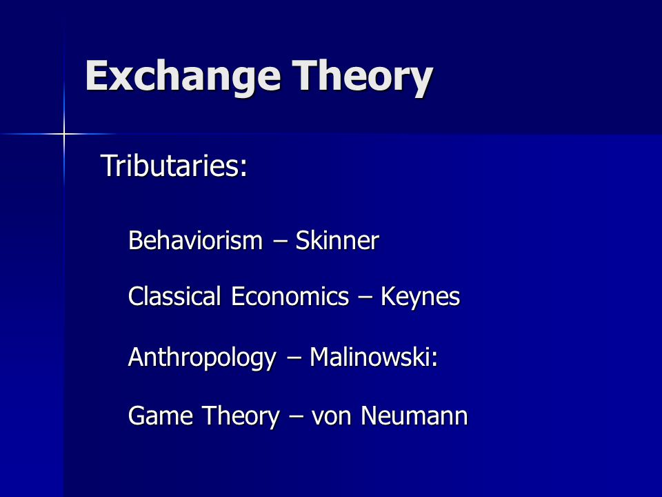 Exchange Theory Behaviorism – Skinner Classical Economics – Keynes Anthropology – Malinowski: Game Theory – von Neumann Tributaries: