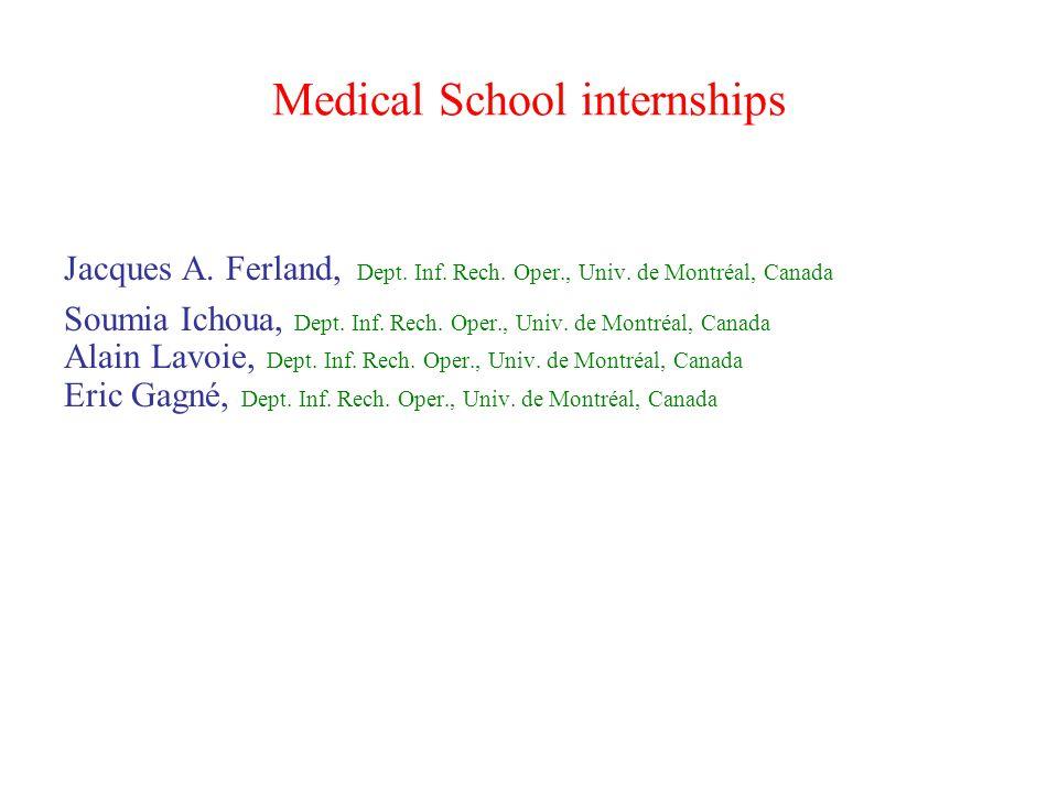Medical School internships Jacques A. Ferland, Dept.