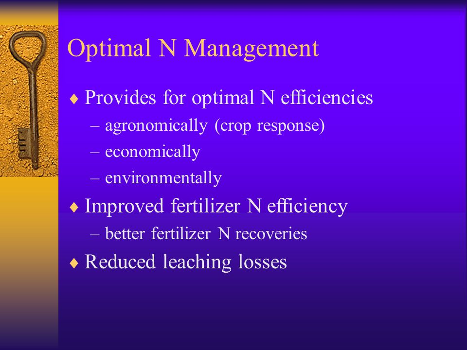 Optimal N Management  Provides for optimal N efficiencies –agronomically (crop response) –economically –environmentally  Improved fertilizer N efficiency –better fertilizer N recoveries  Reduced leaching losses