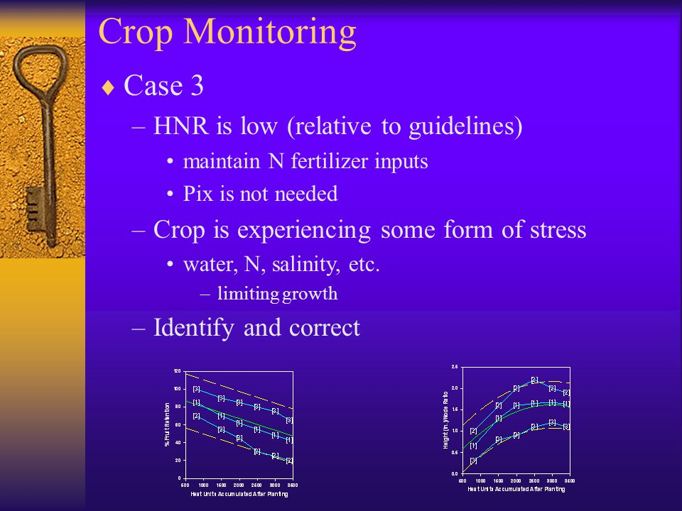 Crop Monitoring  Case 3 –HNR is low (relative to guidelines) maintain N fertilizer inputs Pix is not needed –Crop is experiencing some form of stress water, N, salinity, etc.