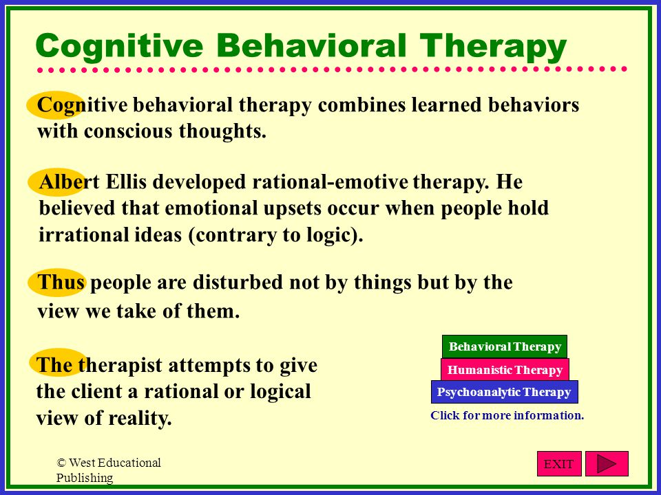 © West Educational Publishing Albert Ellis developed rational-emotive therapy. He believed that emotional upsets occur when people hold irrational ide