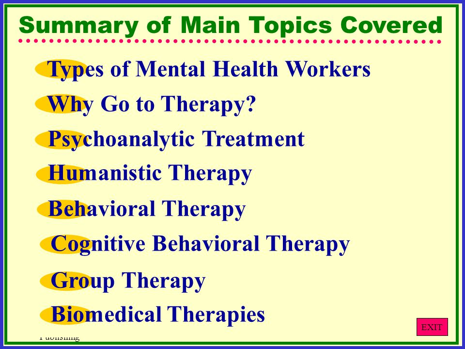 © West Educational Publishing Summary of Main Topics Covered Why Go to Therapy.