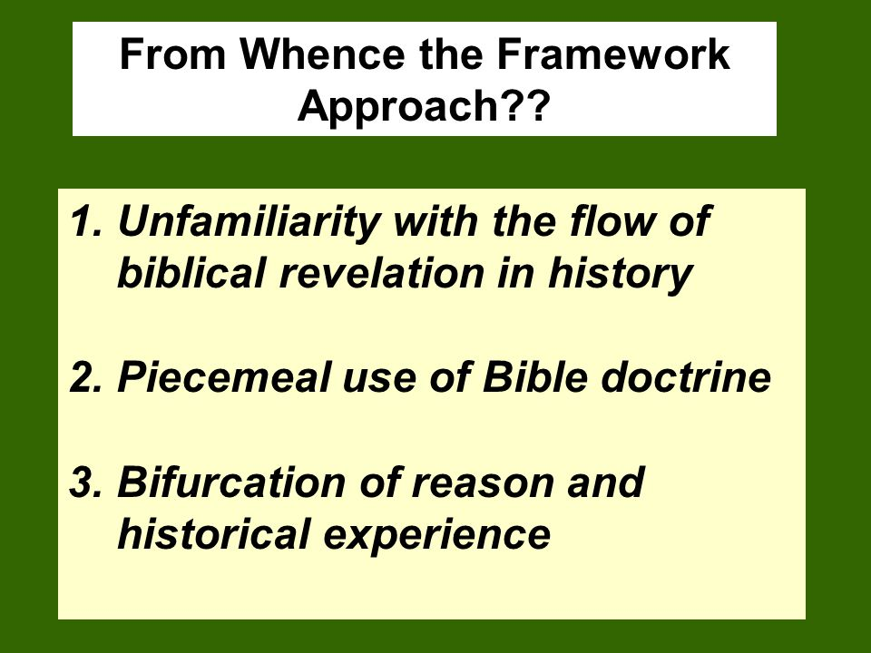From Whence the Framework Approach?.
