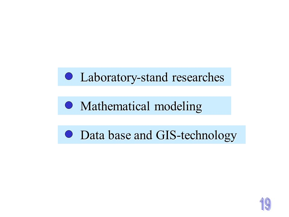 Laboratory-stand researches Laboratory-stand researches Mathematical modeling Mathematical modeling Data base and GIS-technology Data base and GIS-technology