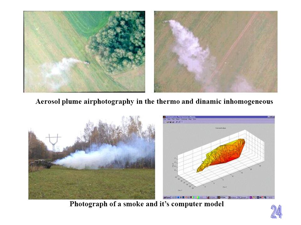 Photograph of a smoke and it's computer model Aerosol plume airphotography in the thermo and dinamic inhomogeneous