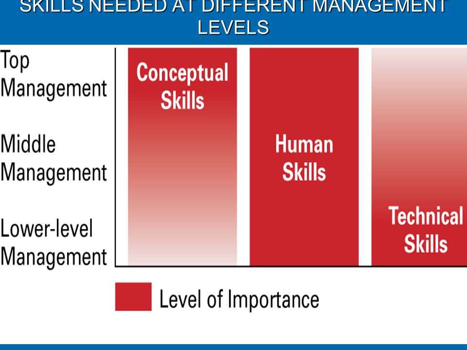 SKILLS NEEDED AT DIFFERENT MANAGEMENT LEVELS © Prentice Hall, 20021-20